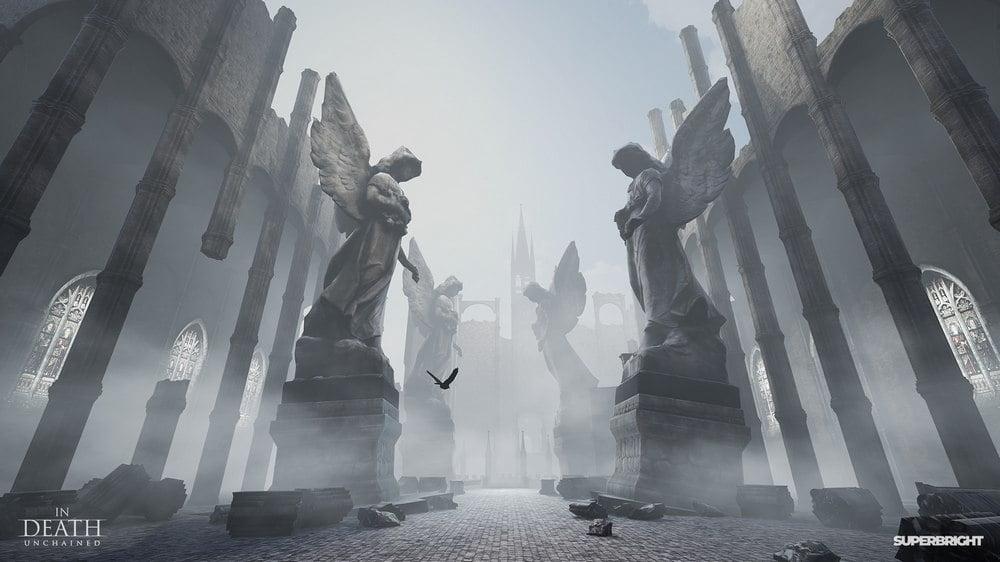 Statuen mit Engeln im VR-Spiel In Death Unchained für Oculus Quest