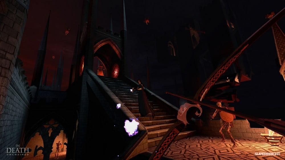 Pfeil auf Bogen zielt auf Hexe in düsterer Höllenwelt in In Death Unchained