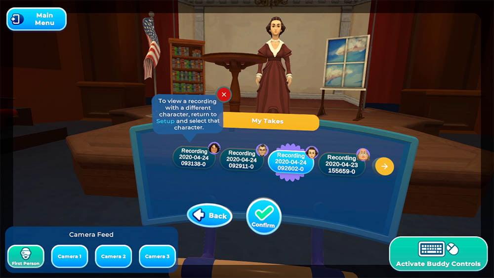 Angefertigte Aufnahmen lassen sich gleich in HistoryMaker VR wiedergeben und aussortieren. | Bild: Schell Games