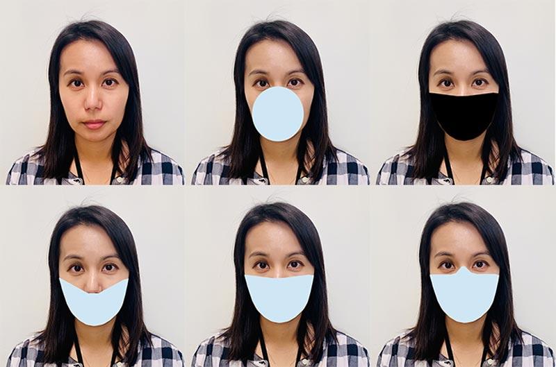 Mit solchen bearbeiteten Bildern testete das NIST die Fehlerraten von Gesichtserkennungssystemen bei Menschen mit verschiedenen Mund-Nase-Masken. | Bild: B. Hayes / NIST
