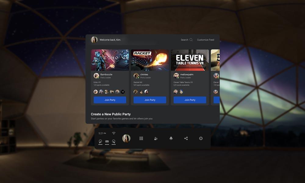 Mit der neuen Party-Funktion können bis zu acht Freunde und Fremde gemeinsam in eine VR-App springen. | Bild: Facebook