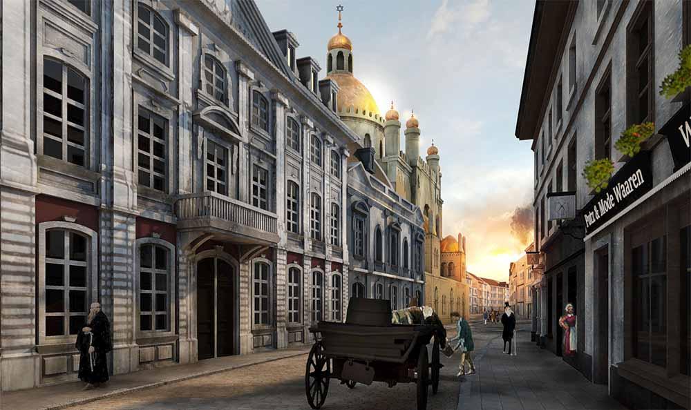 Über die mobile VR-Brille erhaschen Teilnehmer unter anderem einen Blick auf die Synagoge in der Glockengasse um 1860. | Bild : Timeride