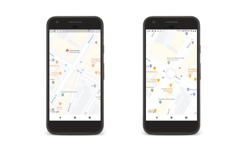 Eine Straßenkarte von New York, dargestellt in Google Maps, links die alte, rechts die neue Version.