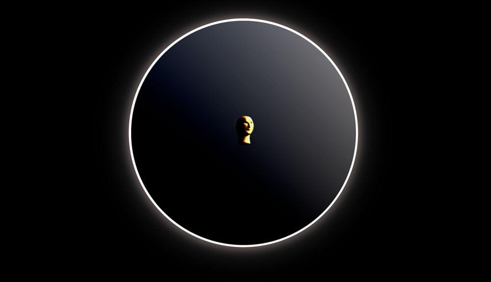 Ein Kopf in einem schwarzen Ring.