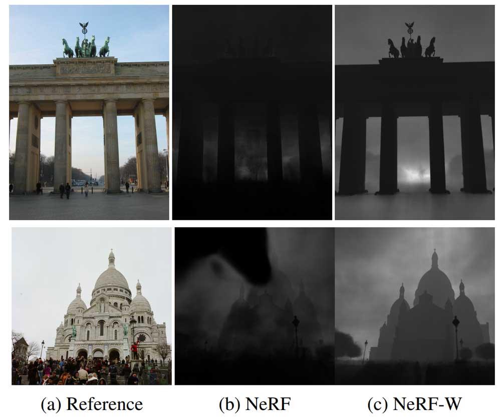 Durch die Konzentration auf statische Strukturen kann NeRF-W bessere Tiefeninformationen aus Fotos extrahieren. | Bild: Google