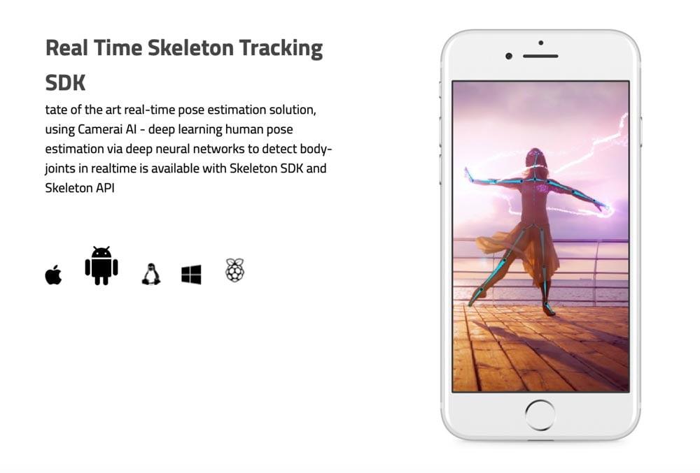 CameraAIs Skeleton Tracking dürfte seit ARKit 3 in Apples iOS-Software integriert sein. | Bild: CameraAI