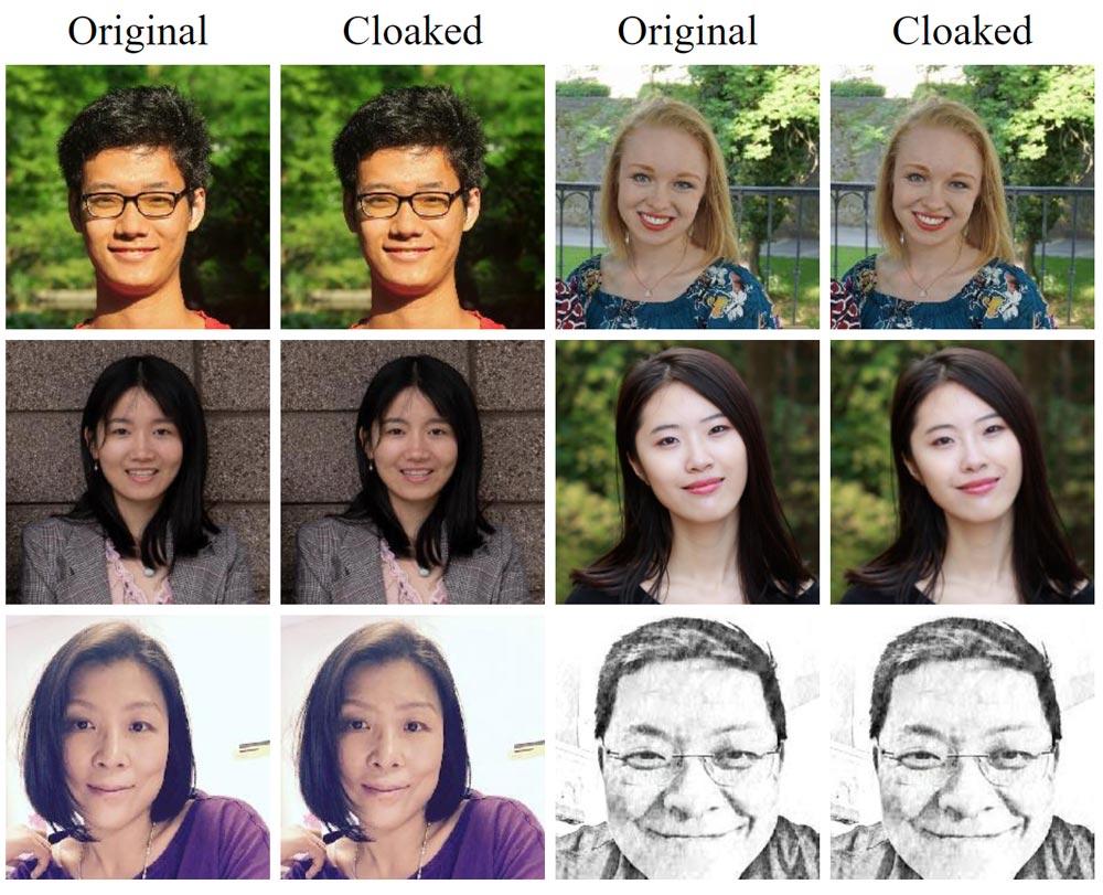 Die algorithmischen Veränderungen an den Gesichtsaufnahmen sollen so geringfügig sein, dass sie Menschen nicht auffallen, wohl aber die KI-Bildanalyse irritieren. | Bild: Universität Chicago