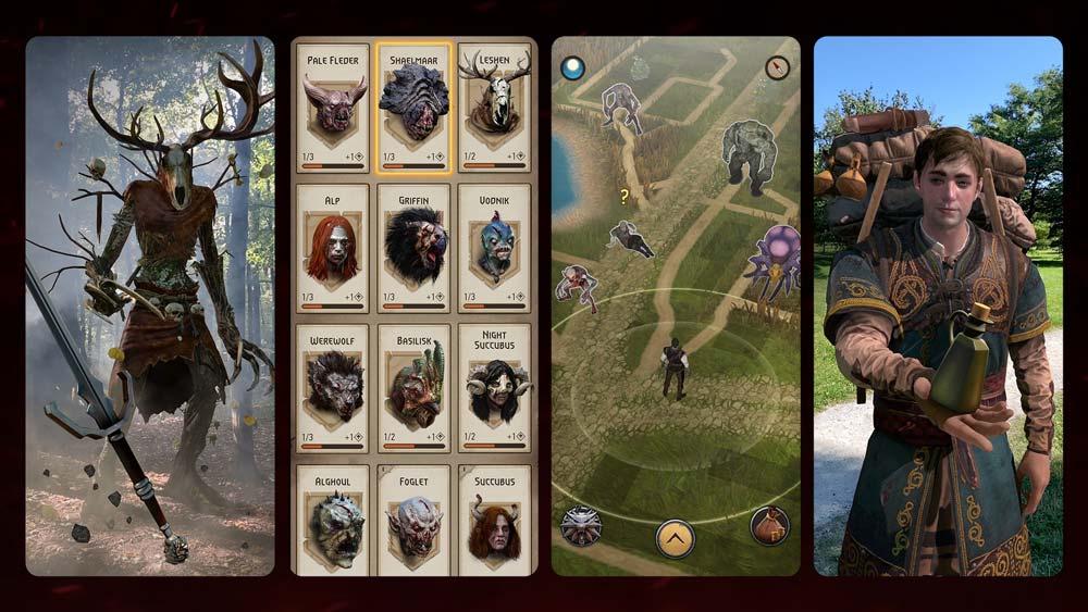 Ein Blick auf die verschiedenen Spielelemente von The Witcher: Monster Slayer: Der AR-Kampfmodus, Gegnerkarten, die Spiele-Landkarte und offenbar ein Händler. | Bild: CD Projekt