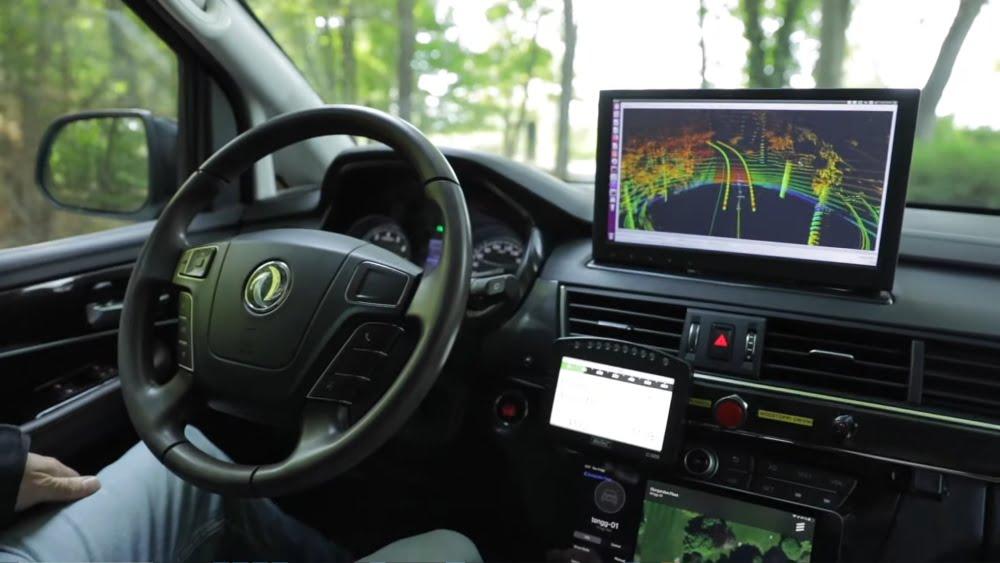 Das Cockpit des autonomen Fahrzeugs 5G-Ride.