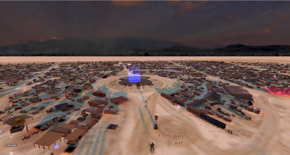 Eine Luftaufnahme des Virtual-Reality-Geländes vom Burning Man Festival in BRCVR.