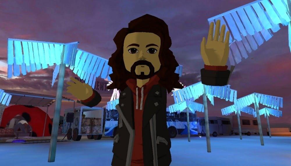 Ein AltspaceVR-Avatar grüßt vom Burning Man VR-Event BRCVR.
