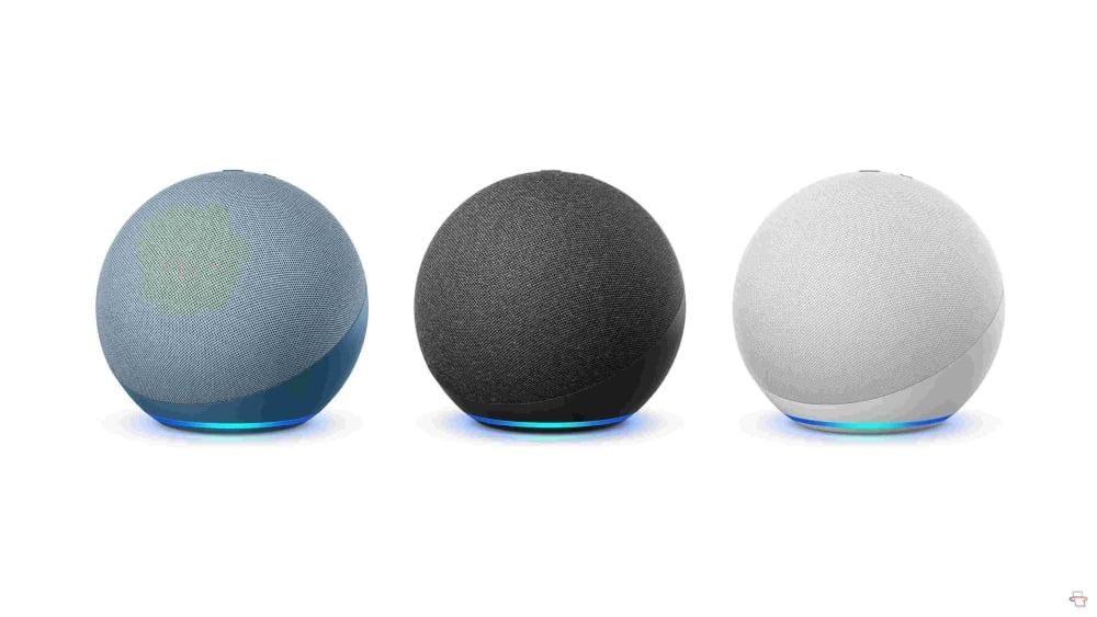 Der neue Amazon Echo Smart Speaker in drei verschiedenen Farben