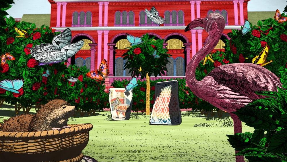 Der Garten der Herzkönigin in der VR-Erfahrung Curious Alice