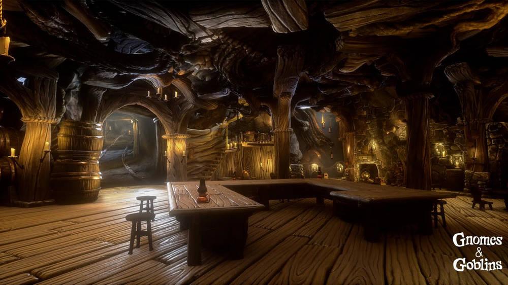 Leeres Gnomen-Wirtshaus in Gnomes & Goblins VR, mit vielen Details