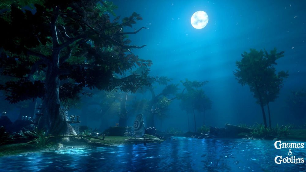 Der Mond scheint hell über das Gnomendorf am Fluss, im Wald in Gnomes & Goblins VR