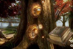 Das riesige Questbuch aus Gnomes & Goblins VR neben einem Wohnbaum der Gnome im Wald