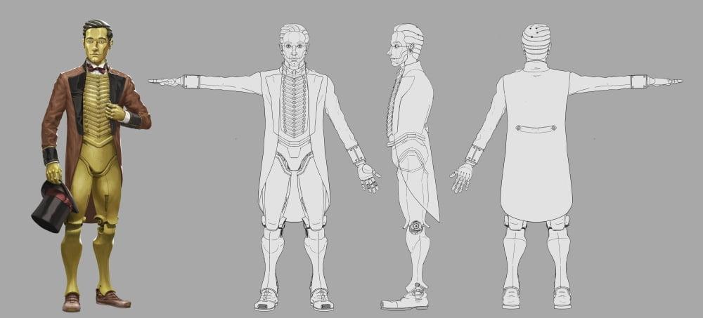 Konzeptzeichnung des Charakters Dave aus der VR-Oper Miranda