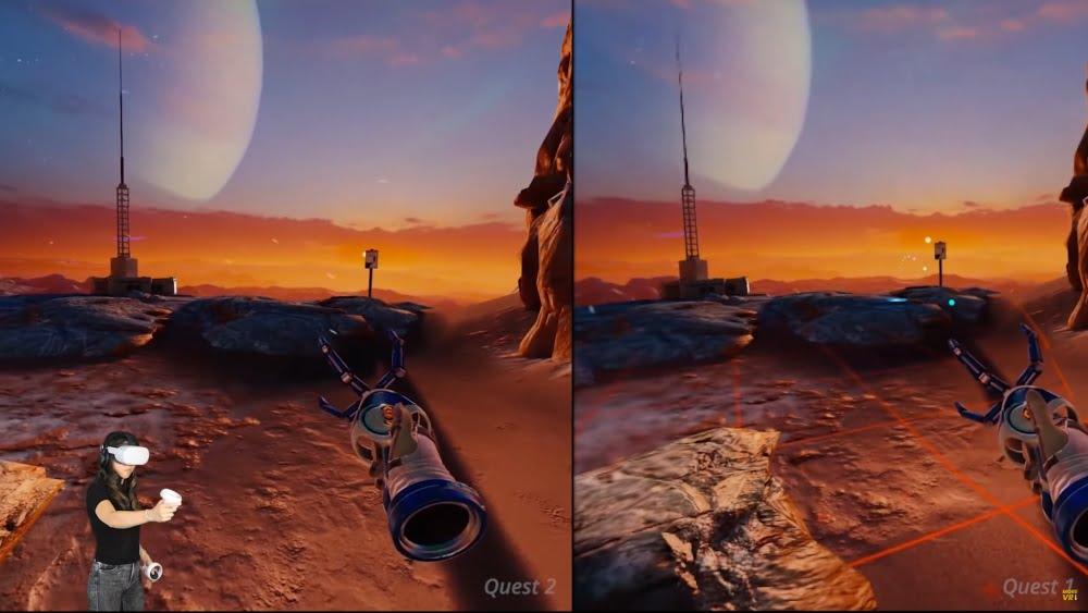 Ein Vergleich des VR-Spiels Red Matter in der Version für Oculus Quest und Oculus Quest 2.