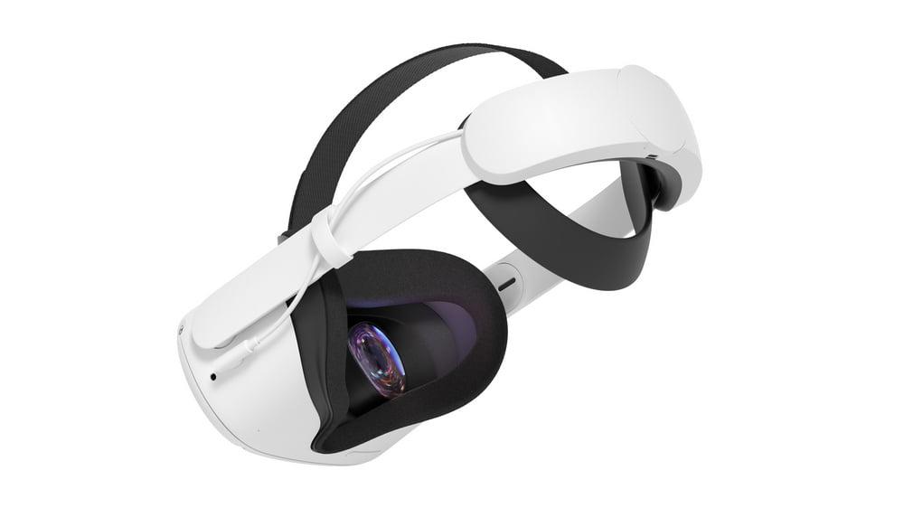 Oculus Quest 2 VR-Brille mit Zubehör Elite Strap und zusätzlöicher Batterie am Hinterkopf