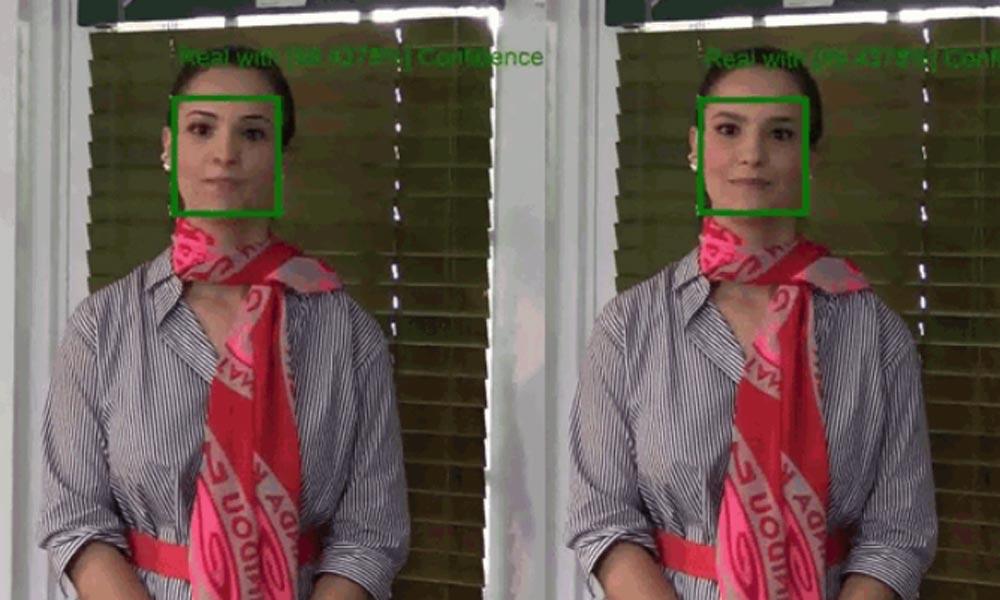 Eine Frau wird auf Deepfake-Gefahr untersucht.