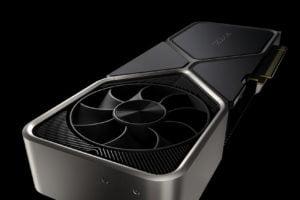 Die Founders Edition der RTX 3080 Grafikkarte von Nvidia vor schwarzem Hintergrund