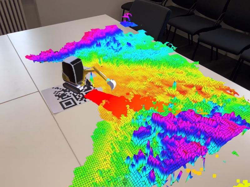Bei der AR-Visualisierung mit iviz sieht man direkt am Roboter, welche Daten er in der Umgebung wie wahrnimmt. | Bild: KIT
