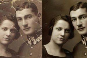 Ein altes Foto eines Paares ist voller Flecken und Knicke, außerdem ist es ausgebleicht. Das von der KI bearbeitete Foto hat keine Risse mehr im Bild, auch die Farben sind kräftiger und die Gesichter deutlicher.