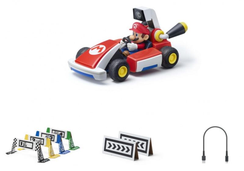 In einem Mario Kart AR-Set für Nintendo Switch sind entweder ein Mario- oder ein Luigi-Kart sowie die Bausteine für eine kleine Rennstrecke enthalten.   Bild: Nintendo
