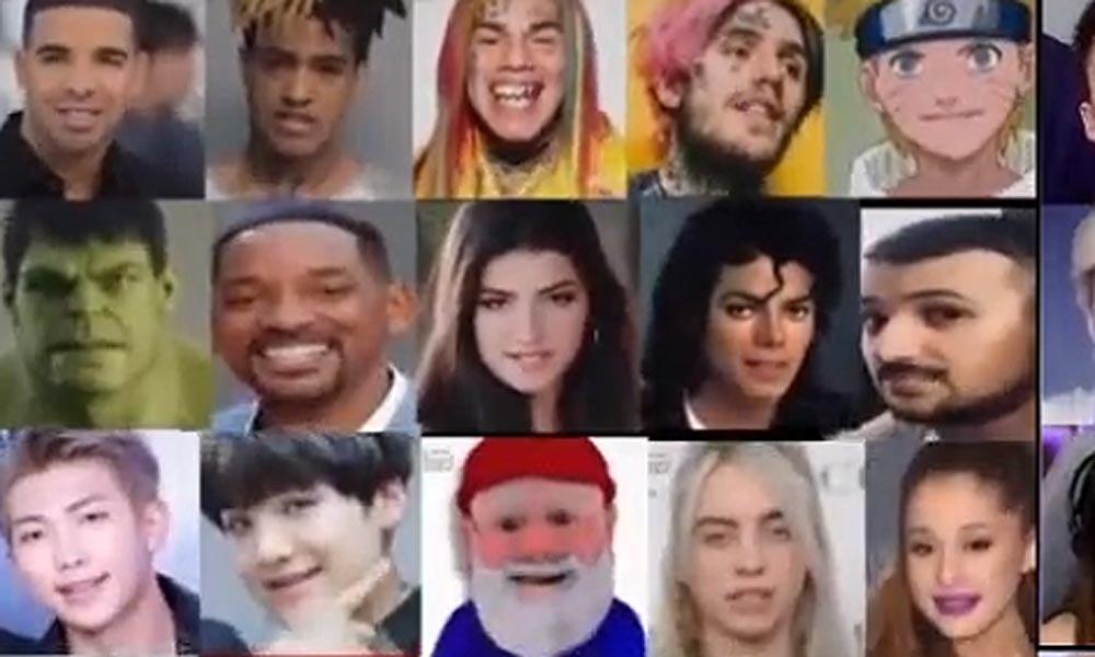 Eine Übersicht von Deepfake-Memes bei TikTok.