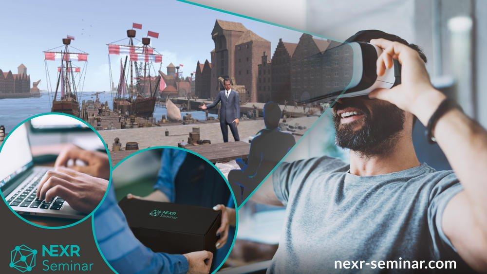 Teaserbild NeXR VR-Seminare mit Hamburger Hafen in VR im Intergrund und mann mit VR-Brille im Vordergrund