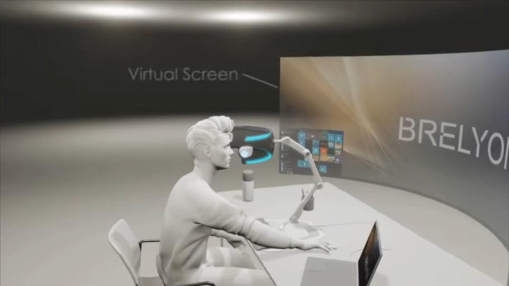 Eine Beispielgrafik zeigt, wie Brelyons immersives Display aussehen könnte.