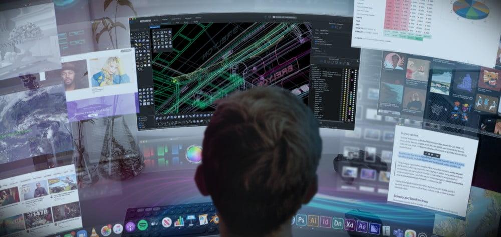 So könnte eine simulierte Multi-Monitor-Lösung über Brelyons immersives Display aussehen.
