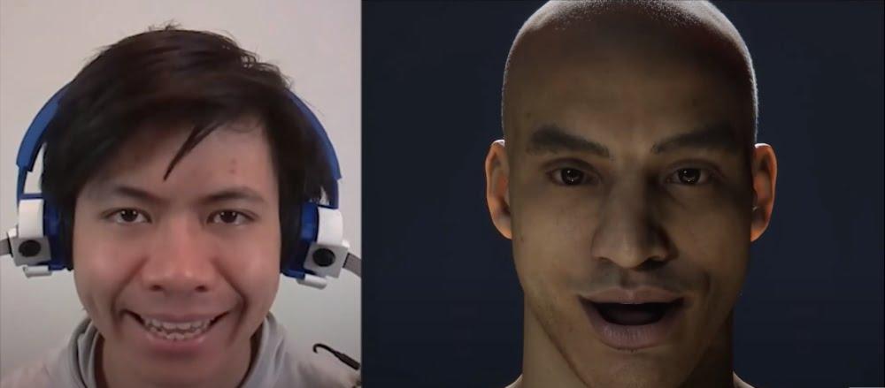 Die Mimik des Nutzers links wird durch C-Face auf einen virtuellen Avatar übertragen.
