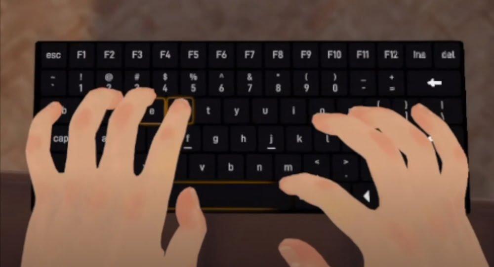 Eine virtuelle Tastatur in der App Immersed.