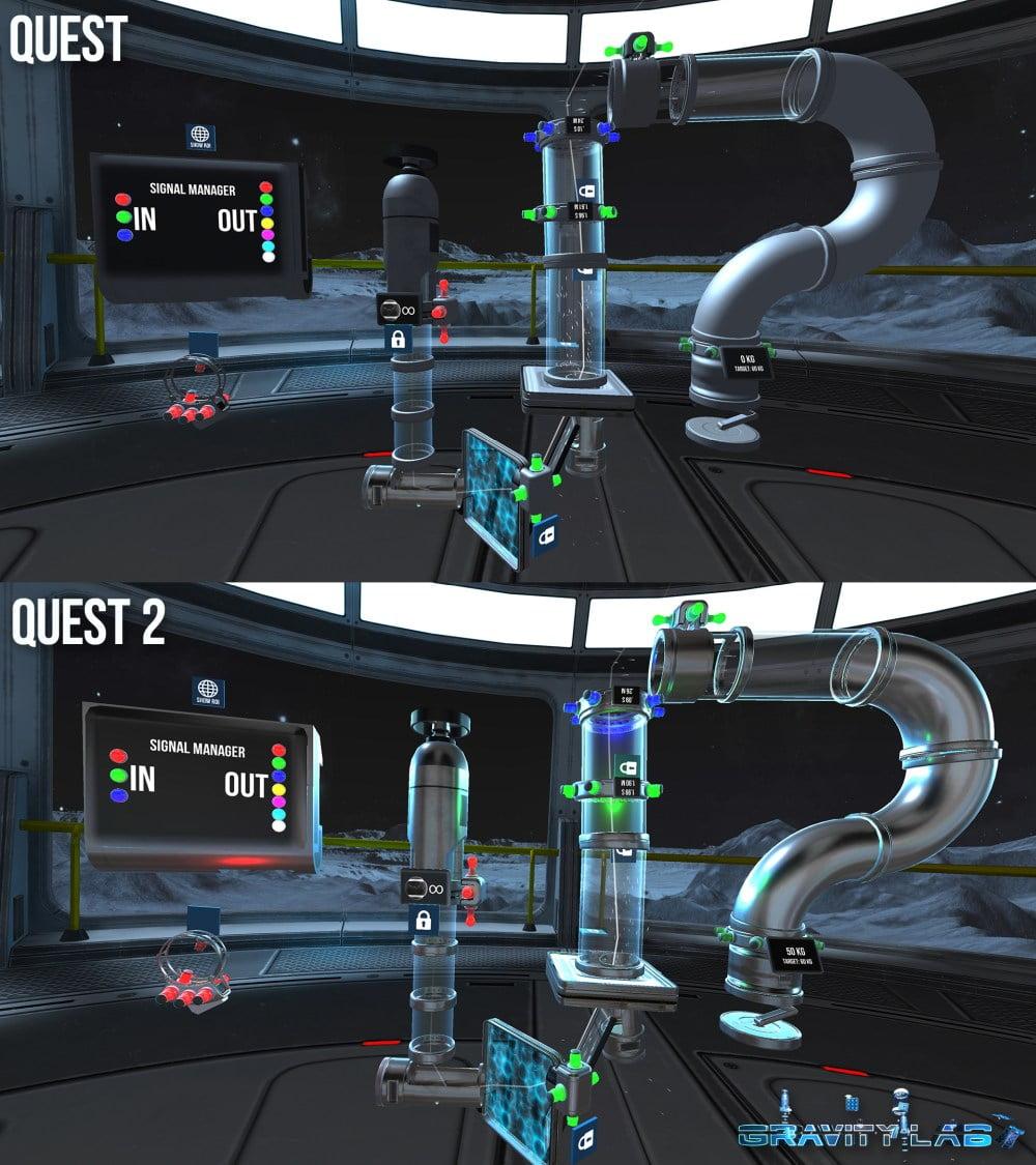Das VR-Spiel Gravity Lab im Vergleich auf der Oculus Quest und der Oculus Quest 2.