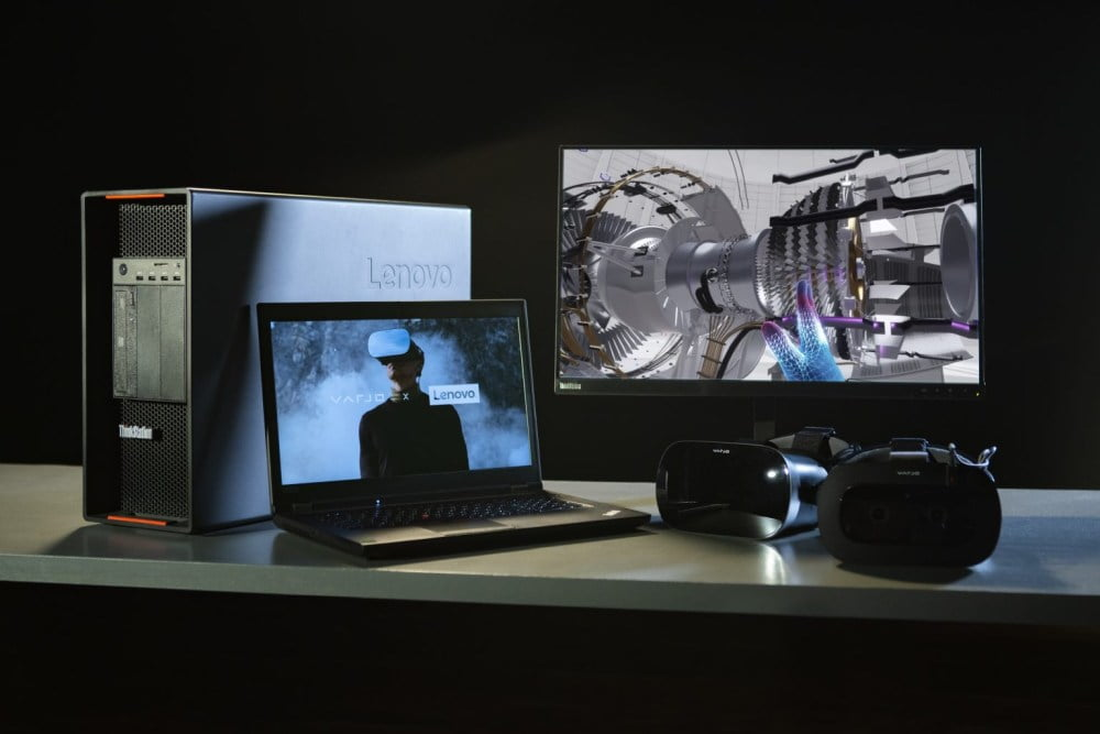 Eine Zusammenstellung verschiedener Lenovo- und Varjo-Geräte.