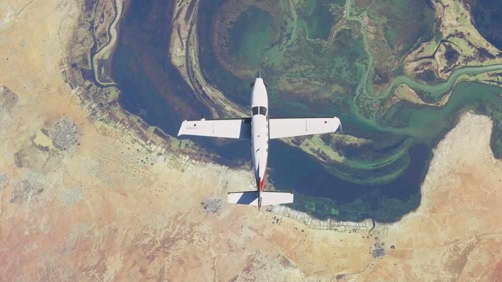 Ein Flugzeug von oben in Microsofts Flight Simulator 2020.