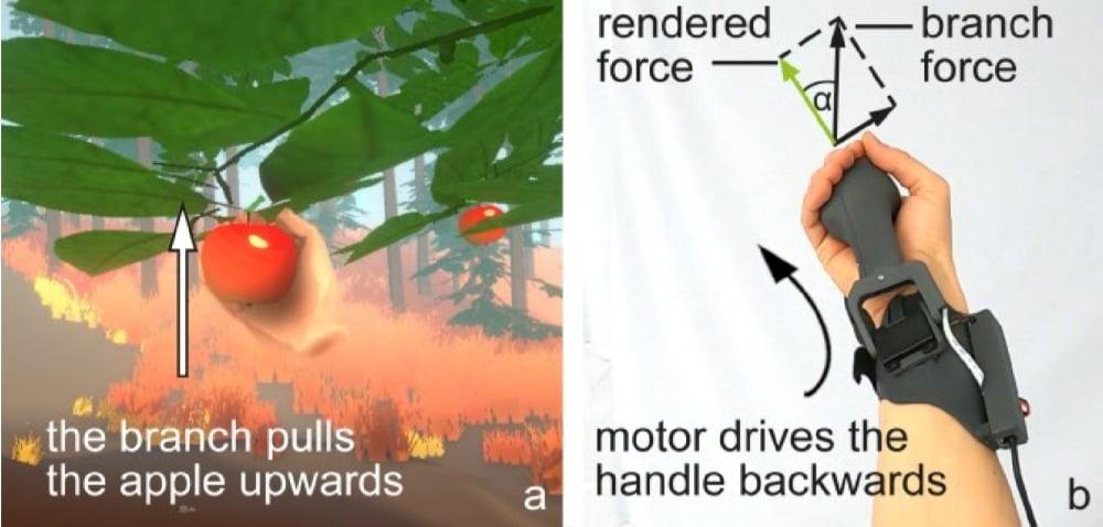 PIVOT simuliert den Widerstand eines Astes, während des Pflückens eines Apfels in VR.