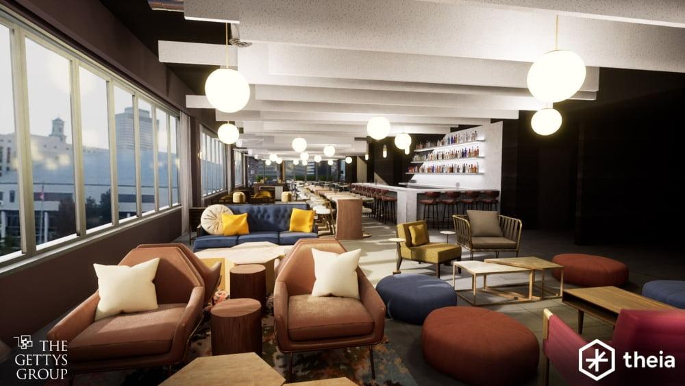 Ein virtuelles Design-Projekt der Gettys Group zeigt einen neu arrangierten Hotelbereich.