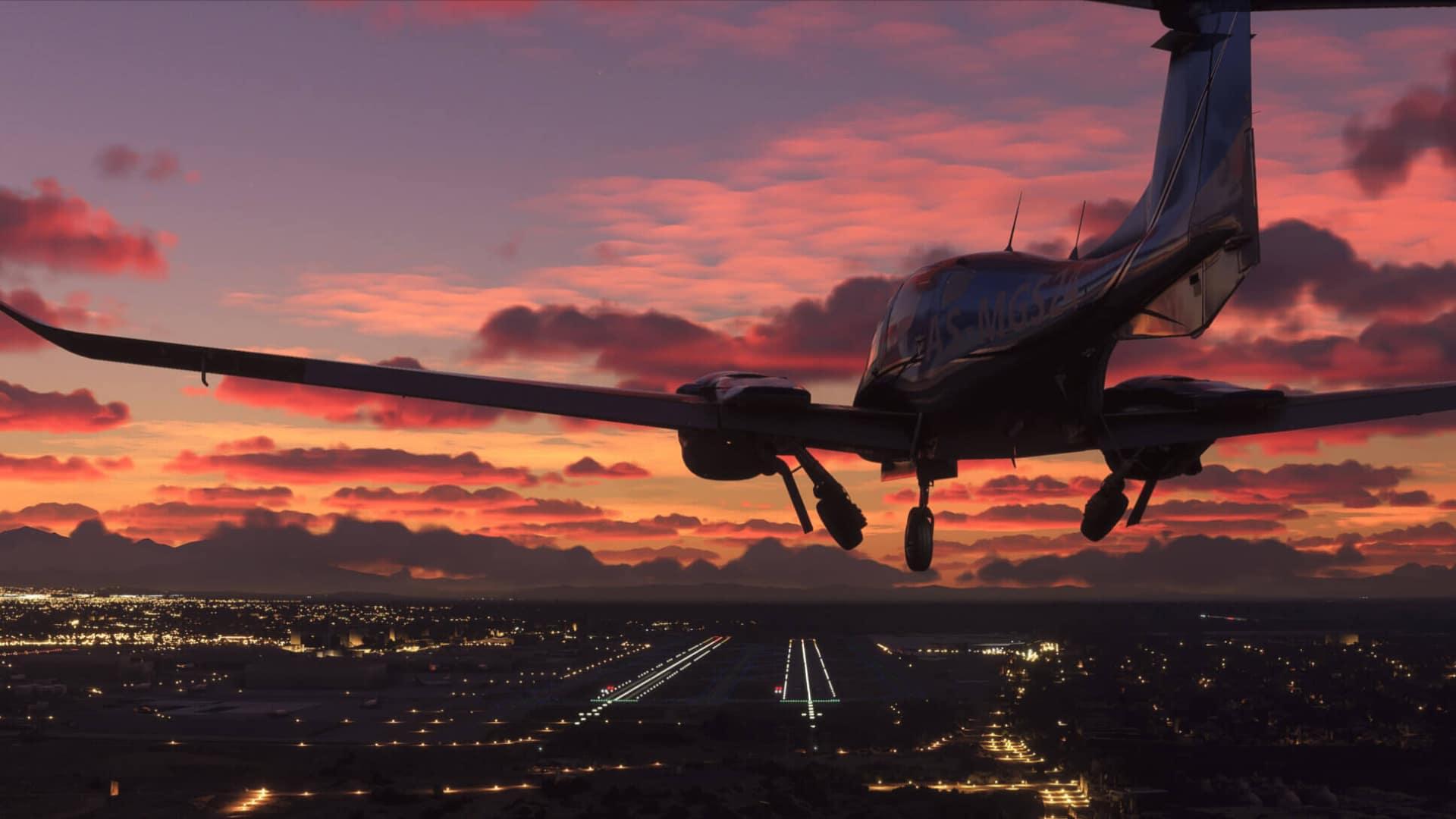 Flugzeug im Landeanflug auf einen Flugplatz bei Sonnenuntergang im Flight Simulator 2020