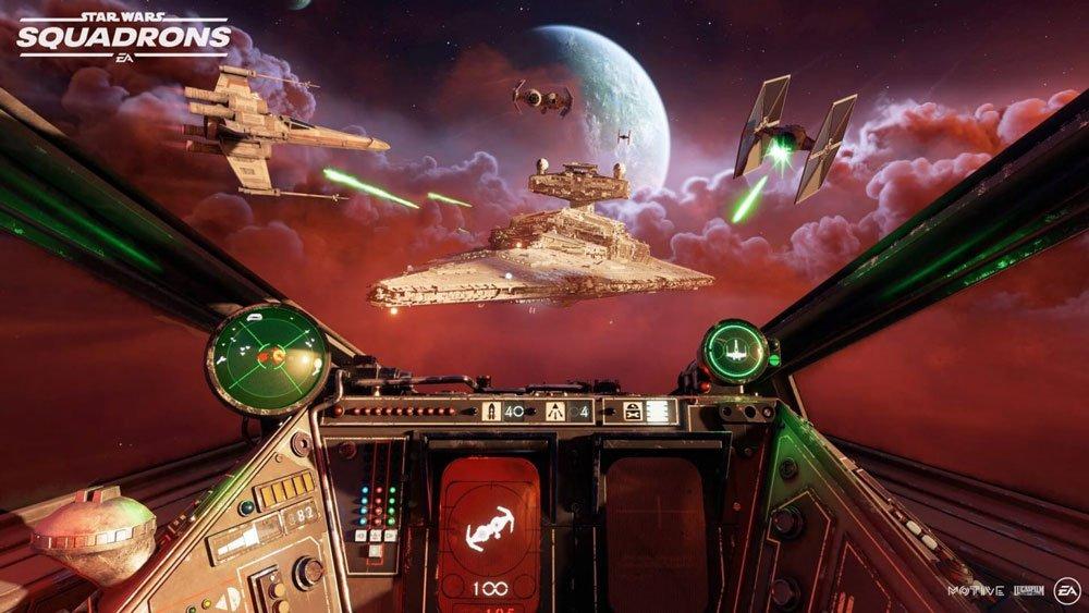 Imperiales Raumschiff im Cockpit eines X-Wing