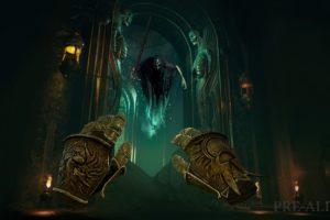 VR-Hände zaubern gegen einen Nighthaunt-Geist in Warhammer Age of Sigmar: Tempest