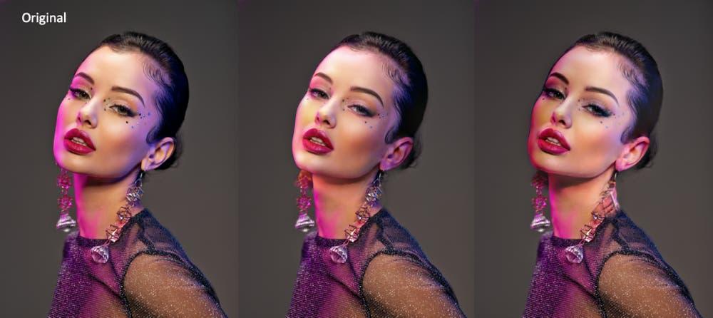 Sogar Makeup lässt sich mit einem Klick vom einen auf das andere Gesicht übertragen oder eine Lichtquelle im Bild inklusive des Schattenwurfs verschieben.   Bild: Adobe