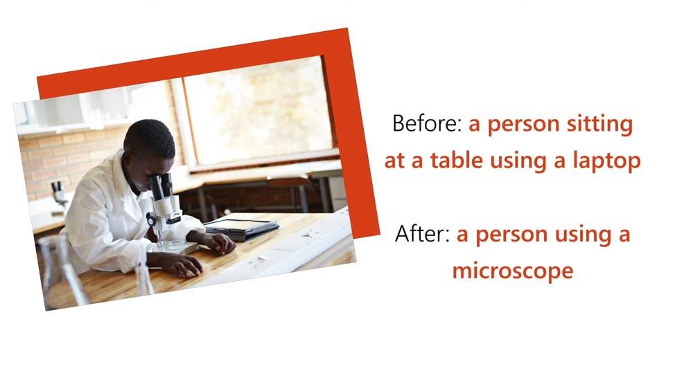 EIne Grafik zeigt zwei Bildbeschriftungen für ein Bild eines Mannes, der in ein Mikroskop schaut. Die alte, falsche Beschriftung beschrieb das Bild als Mann, der in ein Notebook schaut. Die neue Beschiftung erkennt den Mann korekt als Forscher, der in ein Mikroskop schaut.