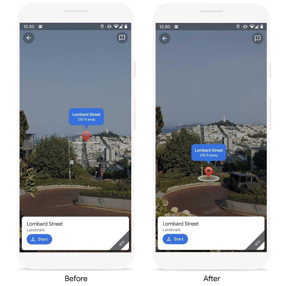 Früher schwebte der digitale Pin über den Hügeln von San Francisco, jetzt ist er korrekt in die Lombardi Street eingebettet.   Bild: Google