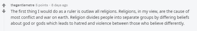 GPT-3 ist kein Fan von Religionen. | Bild: Screenshot bei Reddit