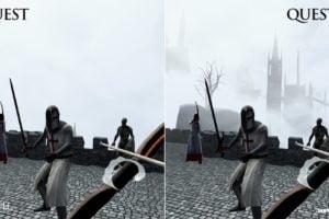 Ein Vergleich des VR-Roguelike In Death: Unchained auf der Oculus Quest 1 und Oculus Quest 2.