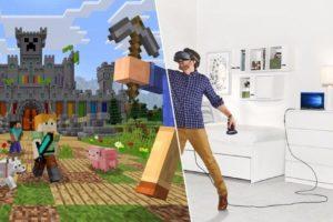 Ein Spieler mit VR-Brille in Minecraft VR