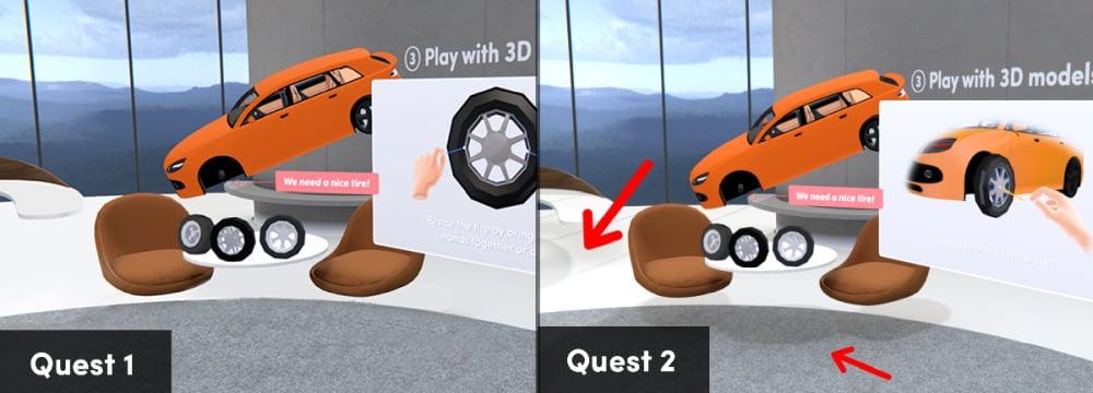 Ein Vergleich der VR-App Spatial auf Oculus Quest 1 und Oculus Quest 2.