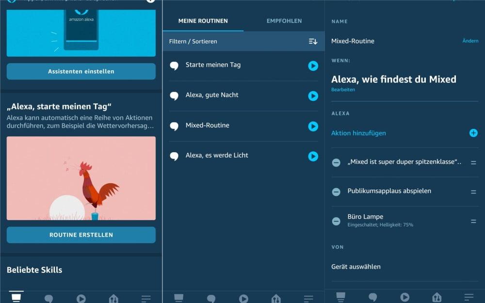 Screenshots aus der Alexa App, die das Einrichten der Routinen zeigen.